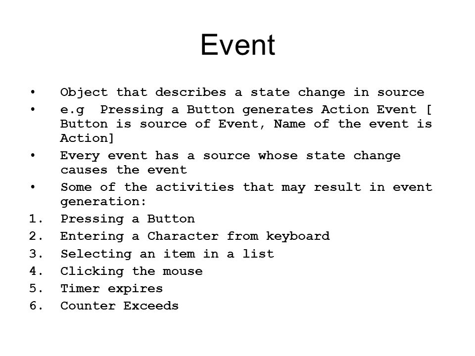 Event Object that describes a state change in source