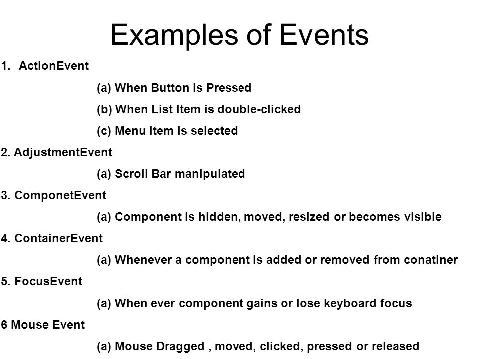 Examples of Events ActionEvent (a) When Button is Pressed
