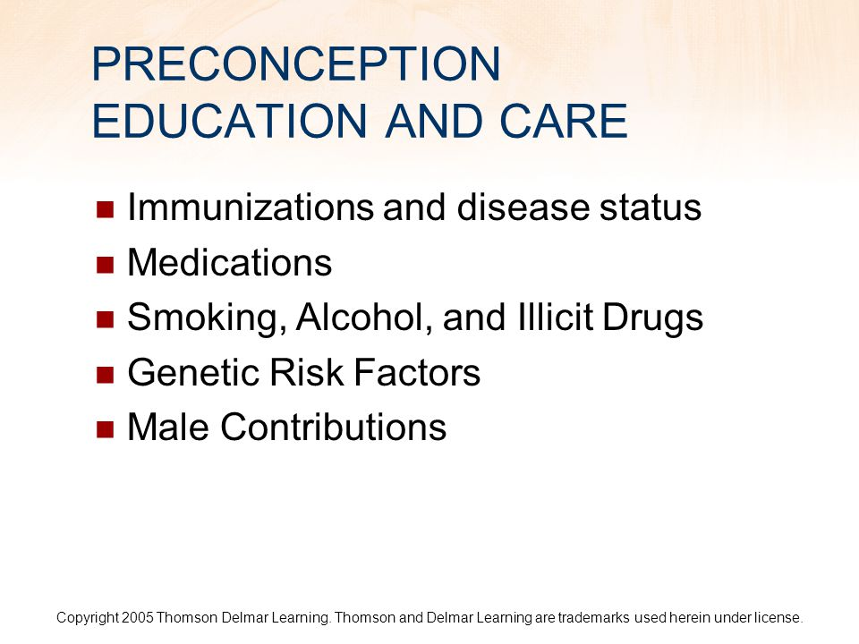 PRECONCEPTION EDUCATION AND CARE