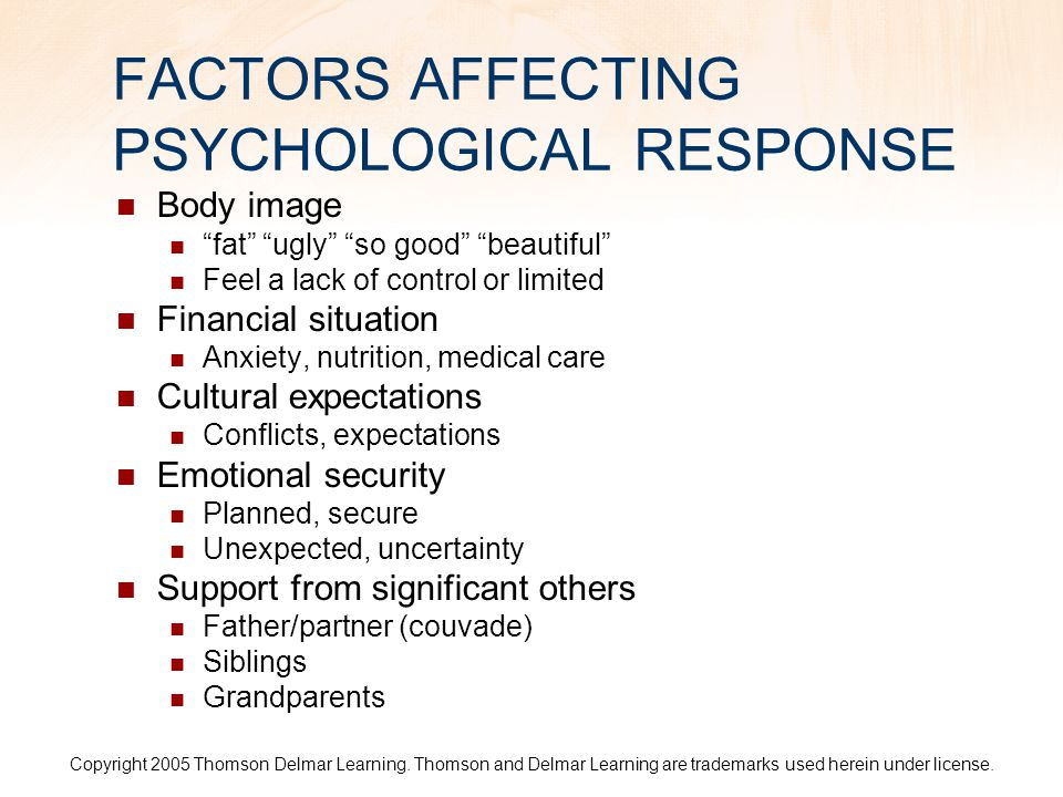 FACTORS AFFECTING PSYCHOLOGICAL RESPONSE