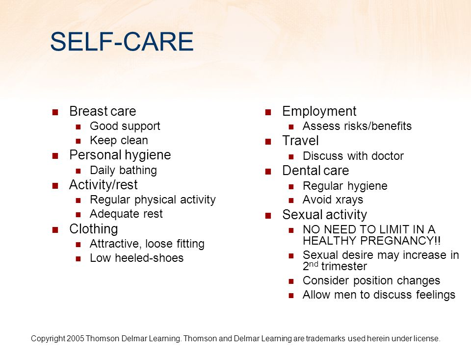 SELF-CARE Breast care Personal hygiene Activity/rest Clothing