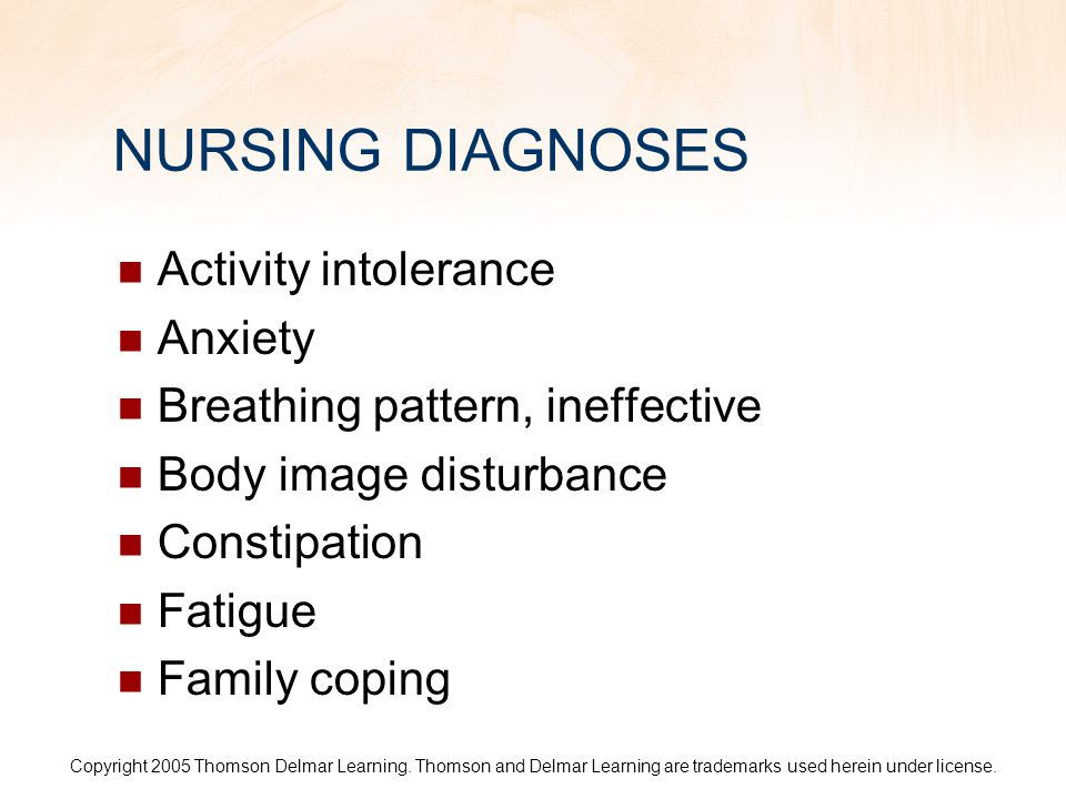 NURSING DIAGNOSES Activity intolerance Anxiety