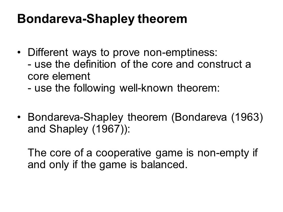 Bondareva-Shapley theorem