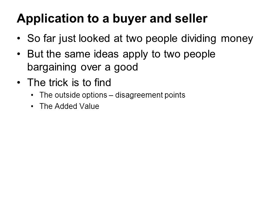 Application to a buyer and seller