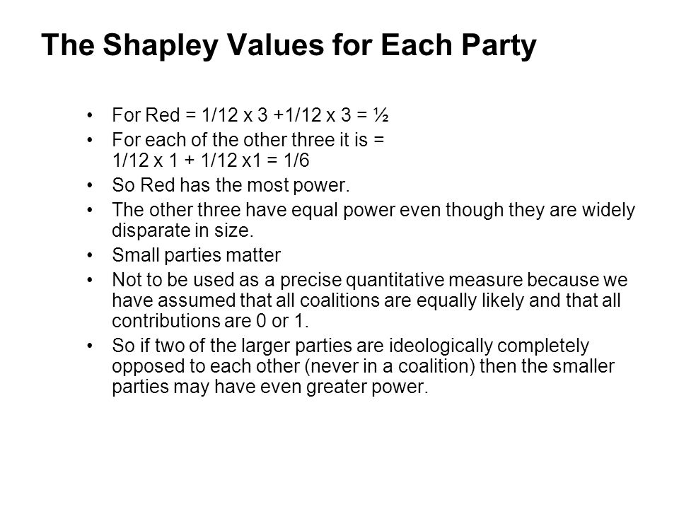 The Shapley Values for Each Party