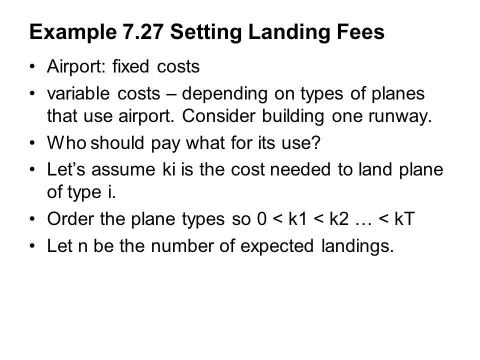 Example 7.27 Setting Landing Fees