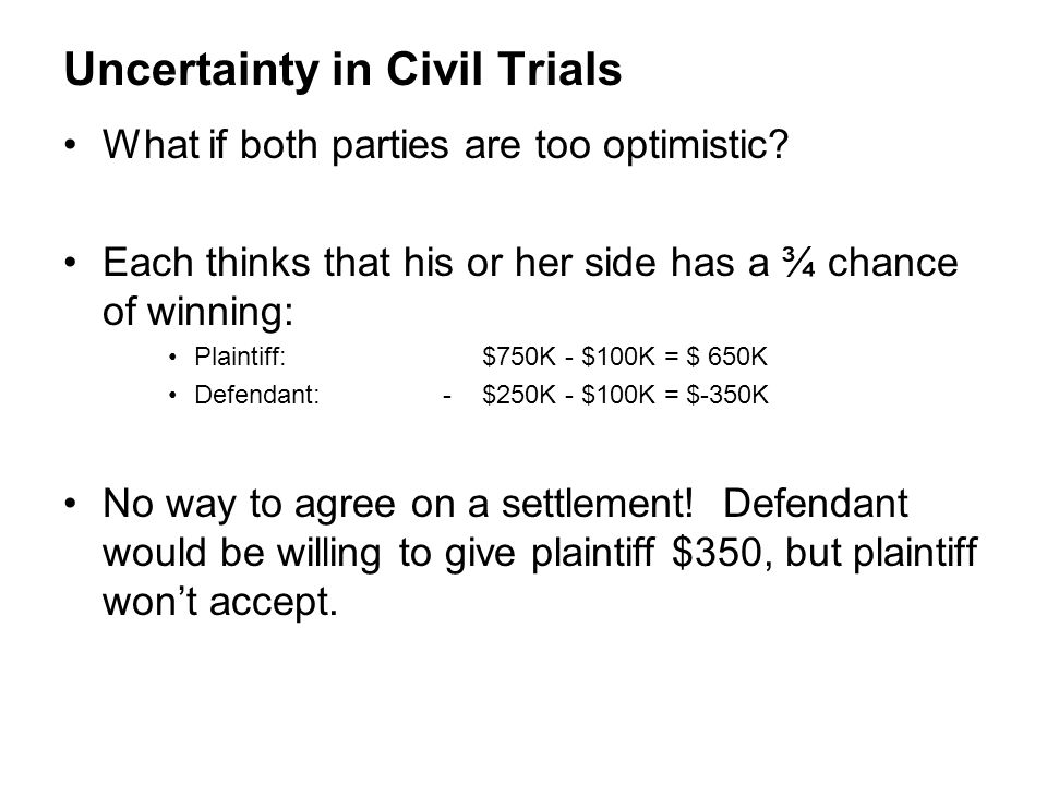 Uncertainty in Civil Trials