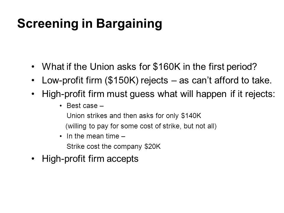 Screening in Bargaining