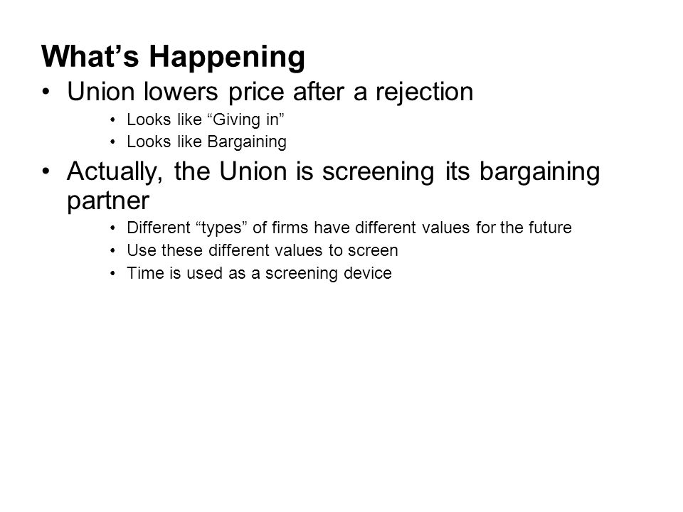 What's Happening Union lowers price after a rejection