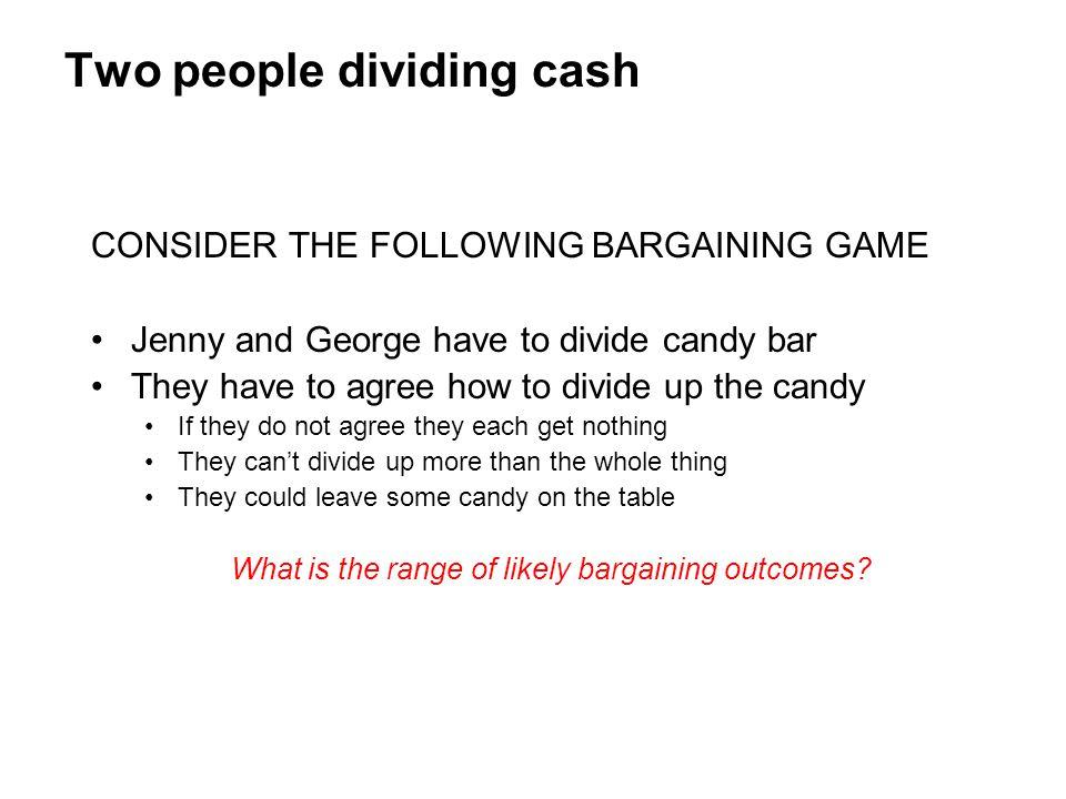 Two people dividing cash