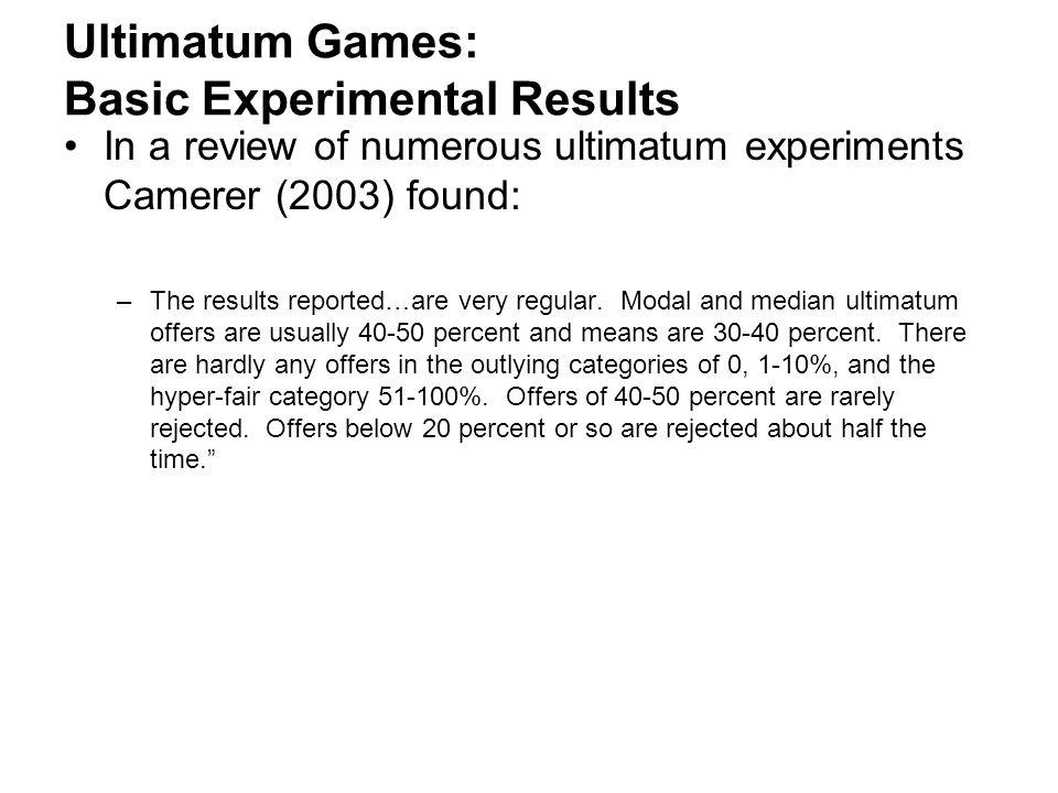 Ultimatum Games: Basic Experimental Results