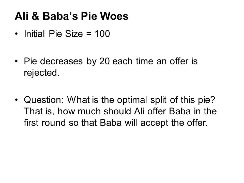 Ali & Baba's Pie Woes Initial Pie Size = 100