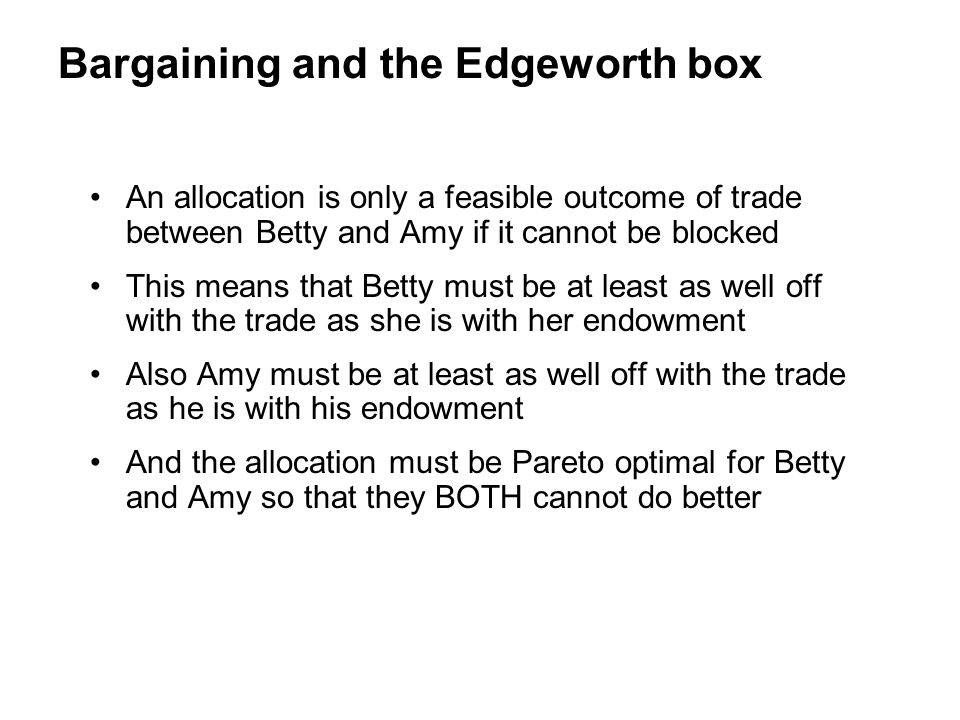 Bargaining and the Edgeworth box