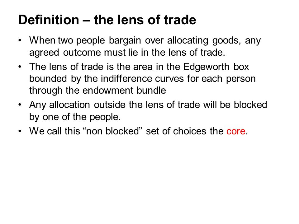 Definition – the lens of trade