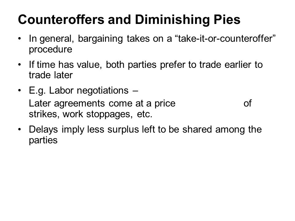 Counteroffers and Diminishing Pies