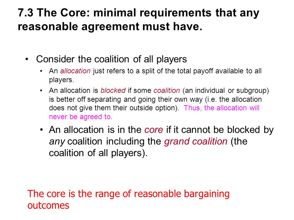 7.3 The Core: minimal requirements that any reasonable agreement must have.