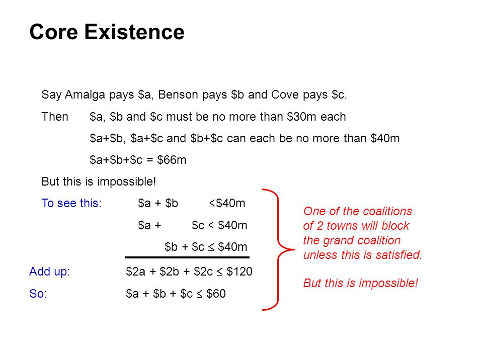 Core Existence Say Amalga pays $a, Benson pays $b and Cove pays $c.