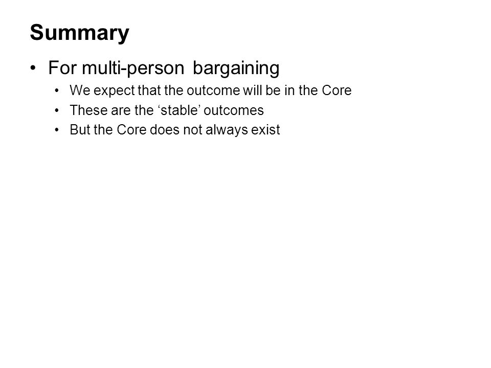 Summary For multi-person bargaining