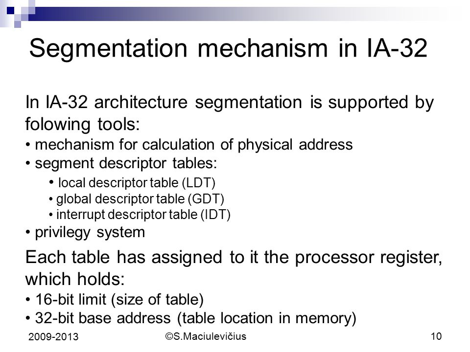 Segmentation mechanism in IA-32