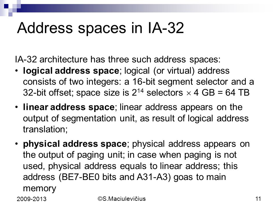 Address spaces in IA-32 IA-32 architecture has three such address spaces: