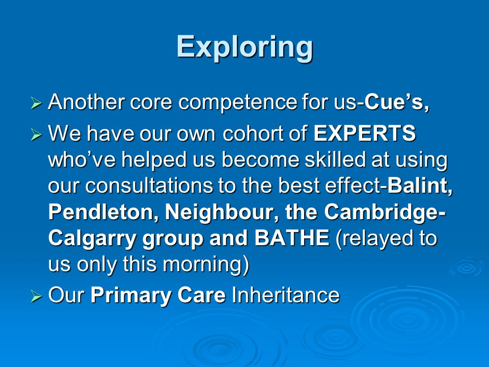Exploring Another core competence for us-Cue's,