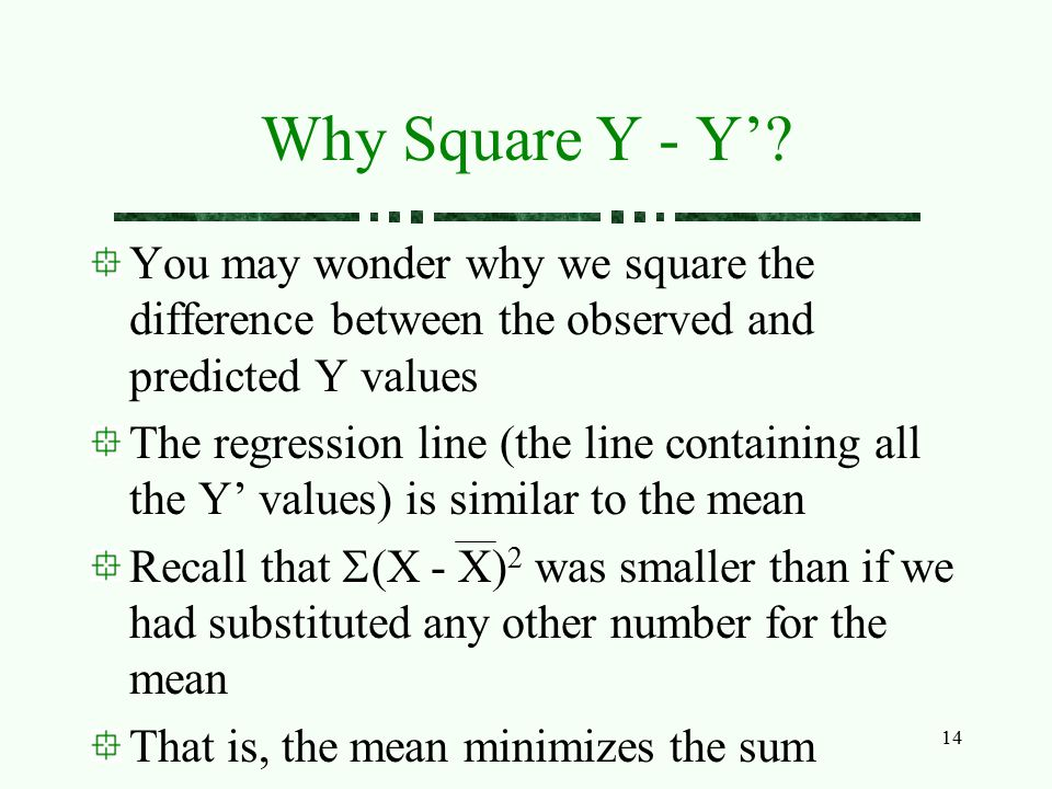 Why Square Y - Y' You may wonder why we square the difference between the observed and predicted Y values.