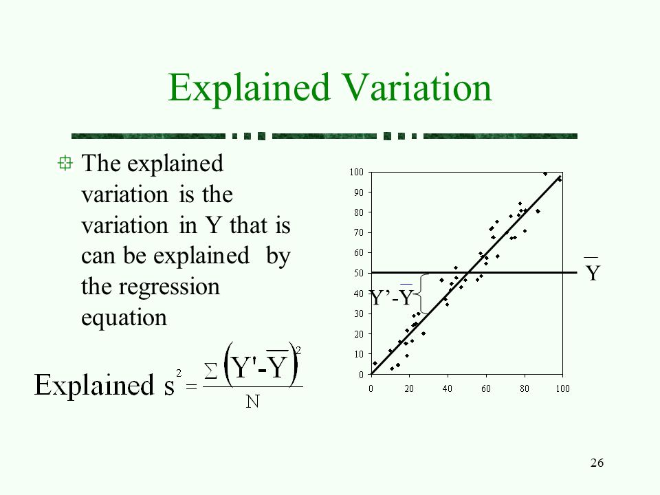 Explained Variation The explained variation is the variation in Y that is can be explained by the regression equation.