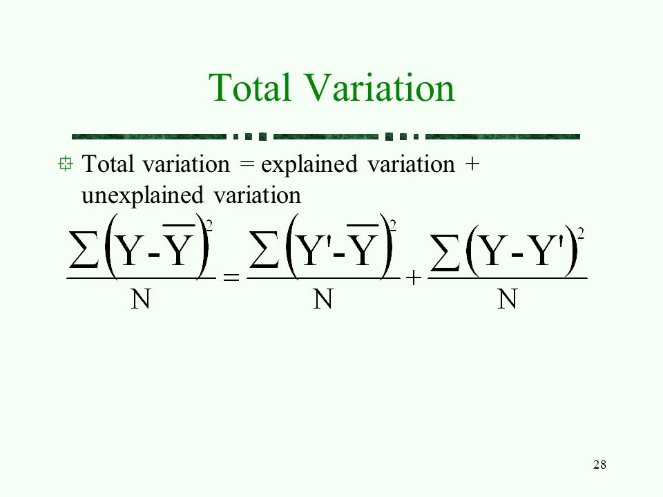 Total Variation Total variation = explained variation + unexplained variation