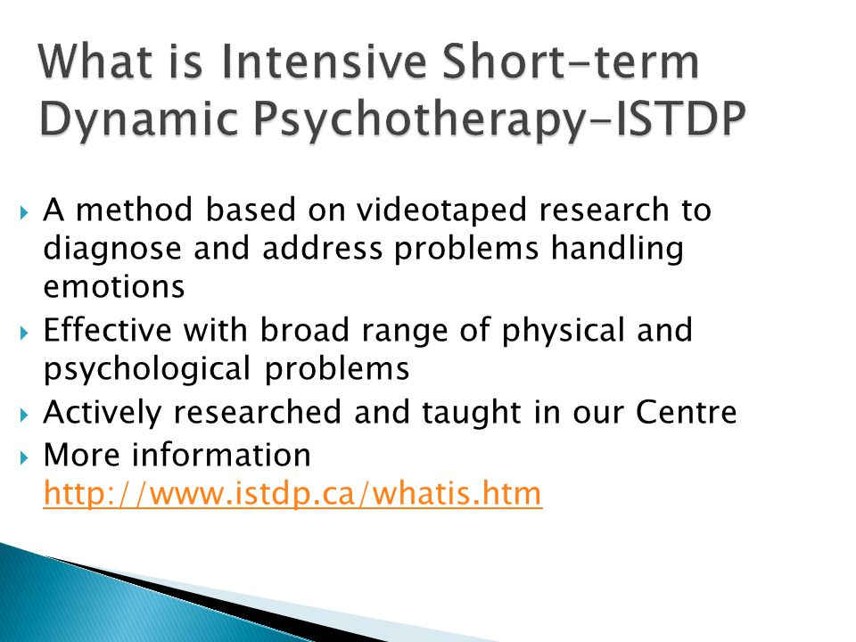 What is Intensive Short-term Dynamic Psychotherapy-ISTDP