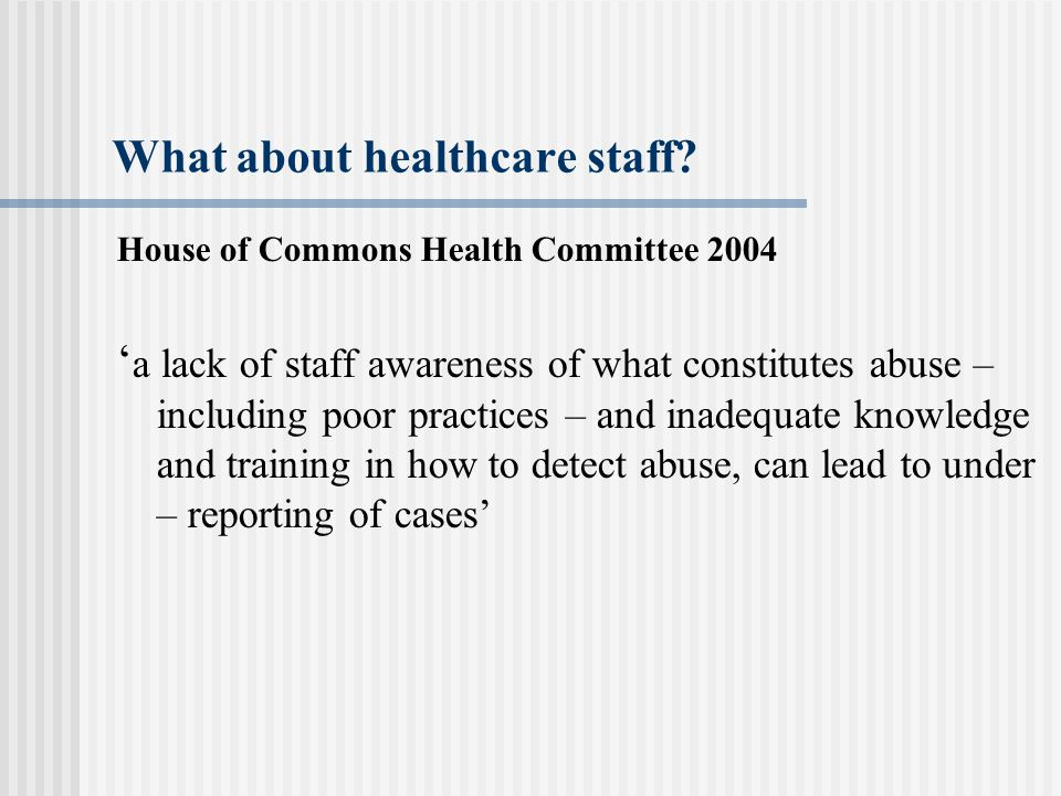What about healthcare staff