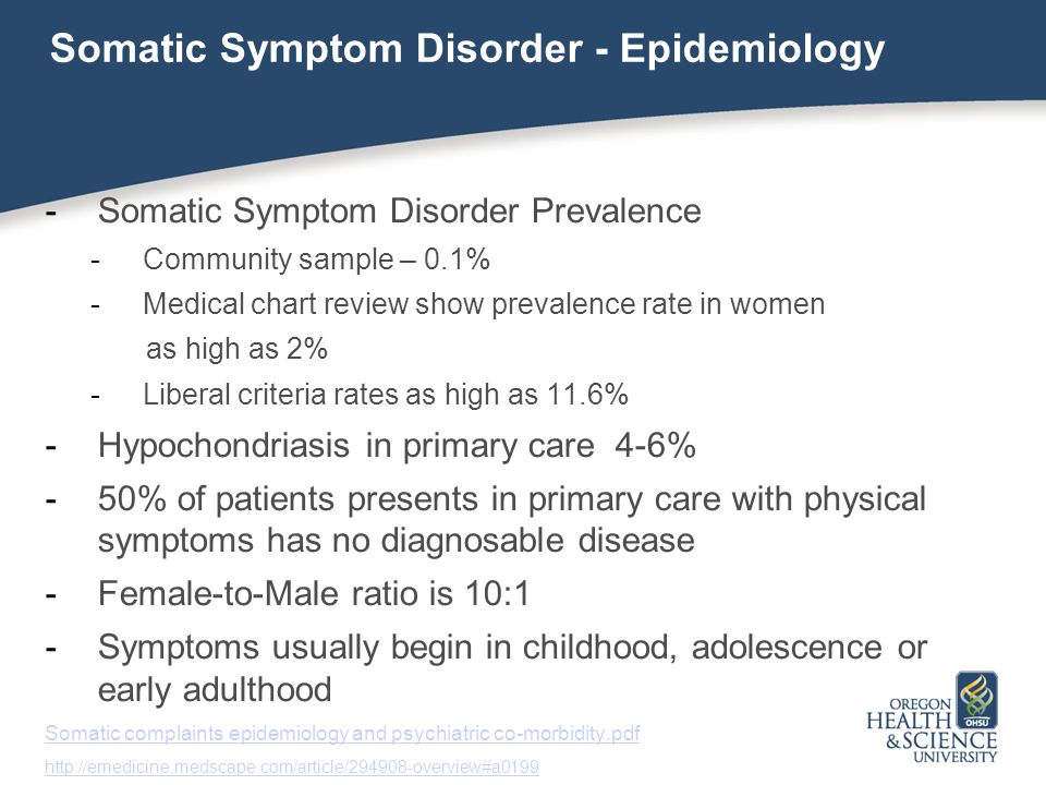 Somatic Symptom Disorder - Epidemiology