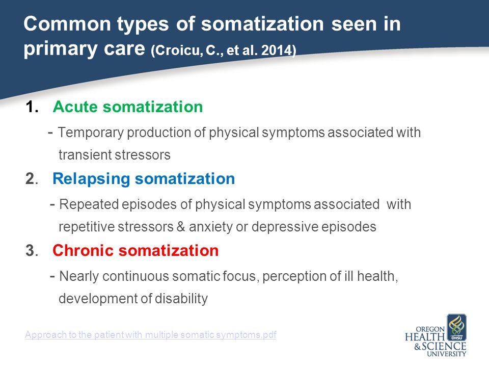 Common types of somatization seen in primary care (Croicu, C. , et al