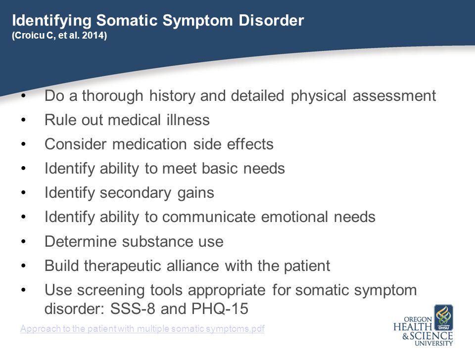 Identifying Somatic Symptom Disorder (Croicu C, et al. 2014)