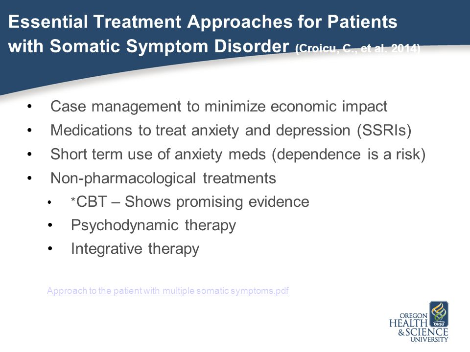 Essential Treatment Approaches for Patients with Somatic Symptom Disorder (Croicu, C., et al. 2014)
