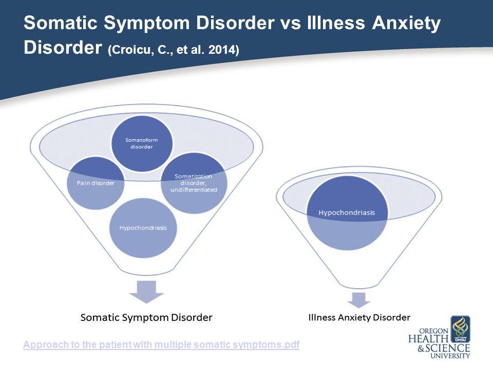Somatic Symptom Disorder vs Illness Anxiety Disorder (Croicu, C
