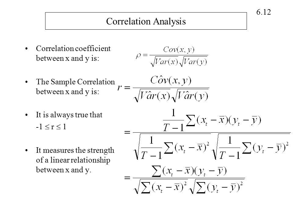 Correlation Analysis Correlation coefficient between x and y is: