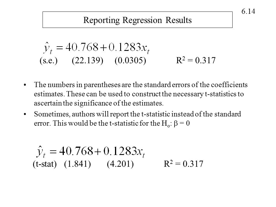 Reporting Regression Results