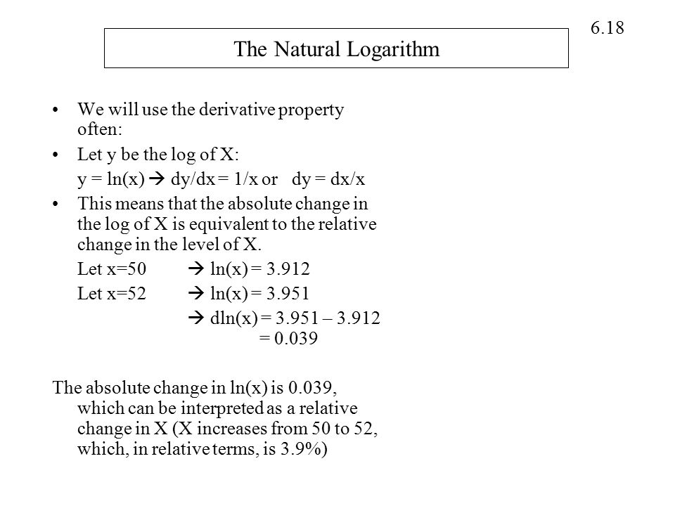 The Natural Logarithm We will use the derivative property often: