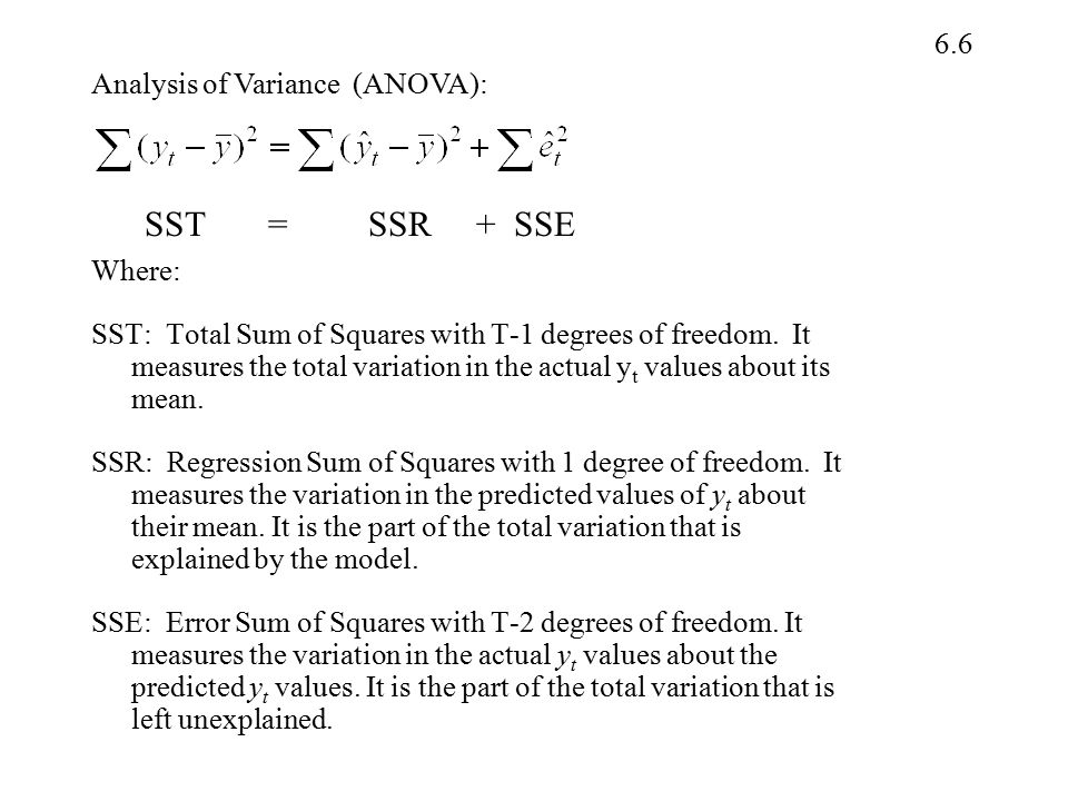 SST = SSR + SSE Analysis of Variance (ANOVA): Where: