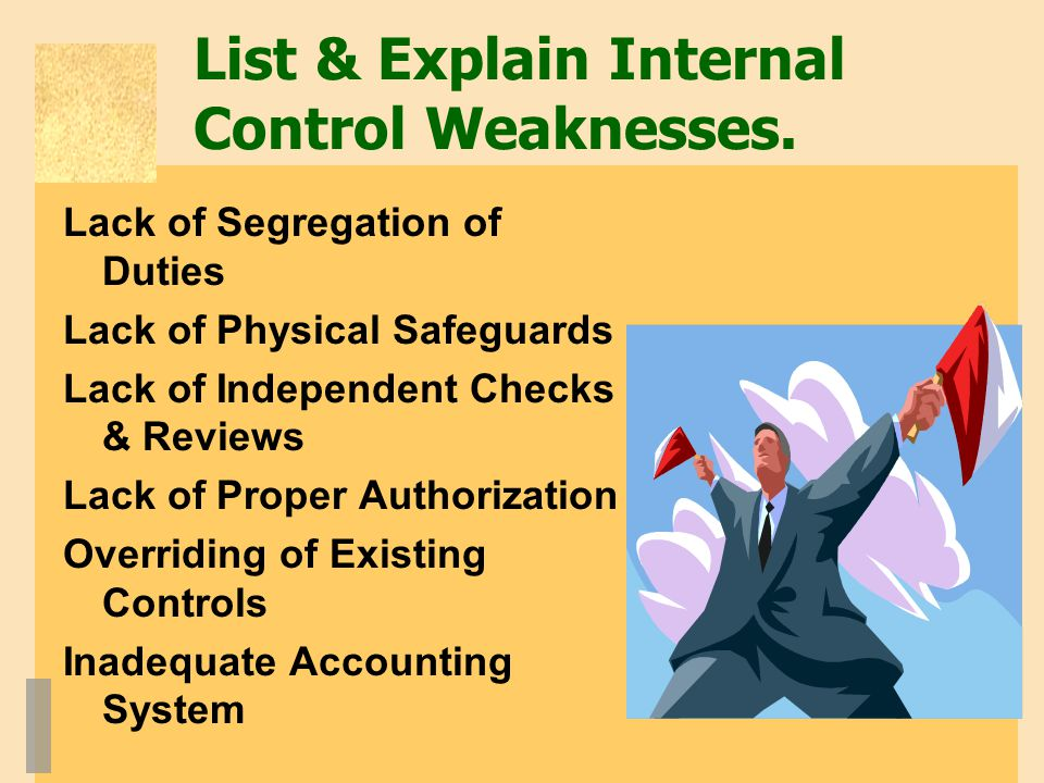 List & Explain Internal Control Weaknesses.