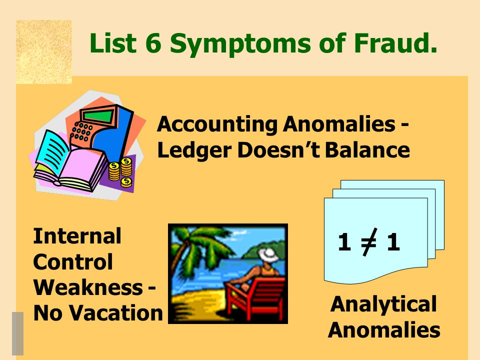 List 6 Symptoms of Fraud. 1 = 1 Accounting Anomalies -