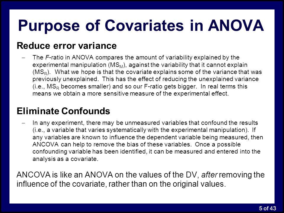 Purpose of Covariates in ANOVA
