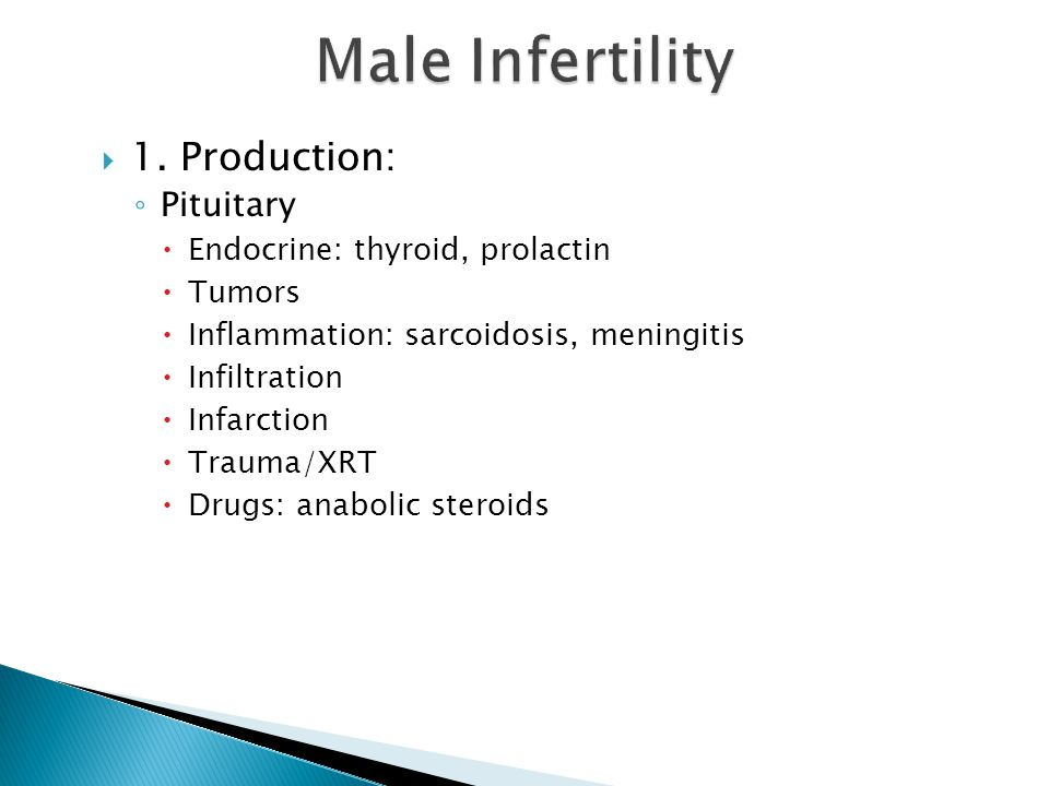 Male Infertility 1. Production: Pituitary