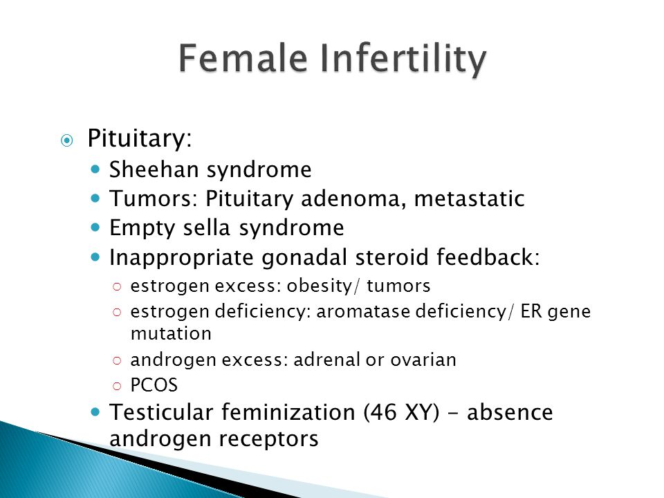Female Infertility Pituitary: Sheehan syndrome