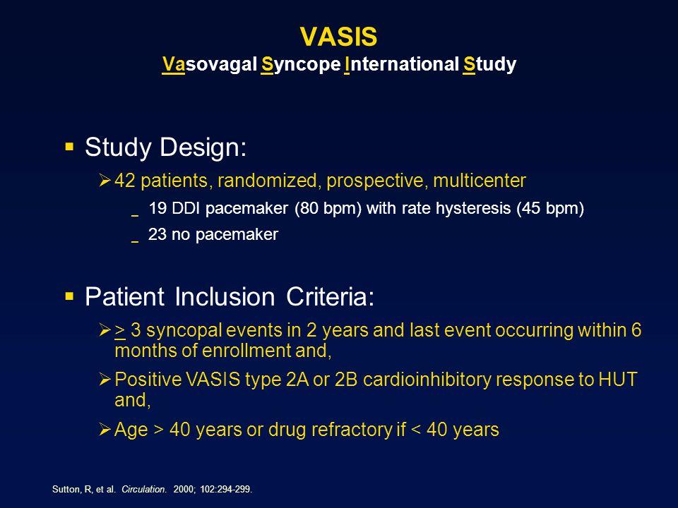 VASIS Vasovagal Syncope International Study