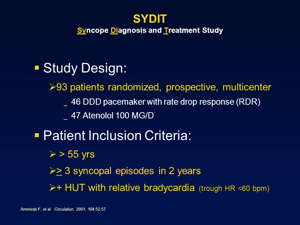 SYDIT Syncope Diagnosis and Treatment Study
