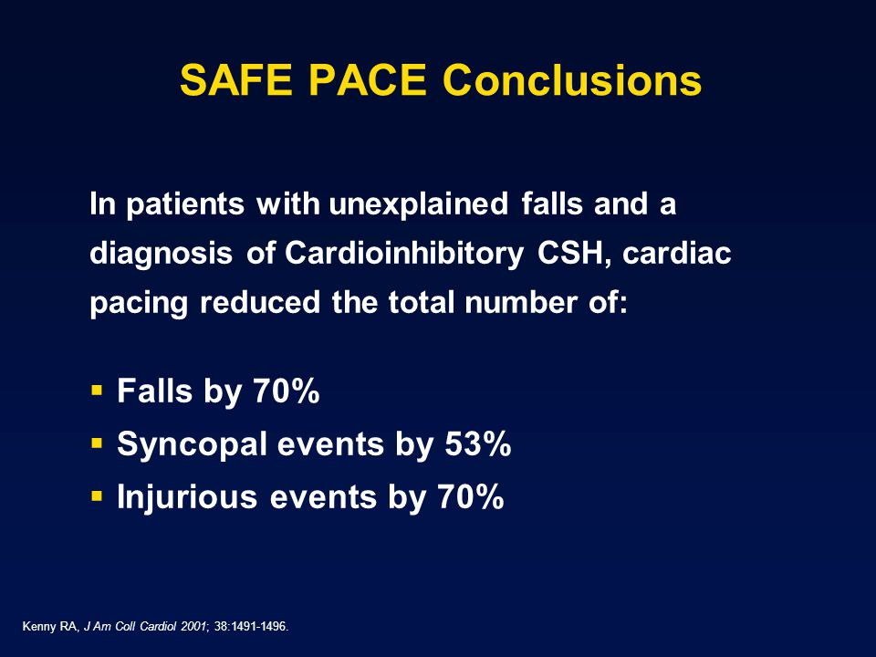 SAFE PACE Conclusions Falls by 70% Syncopal events by 53%