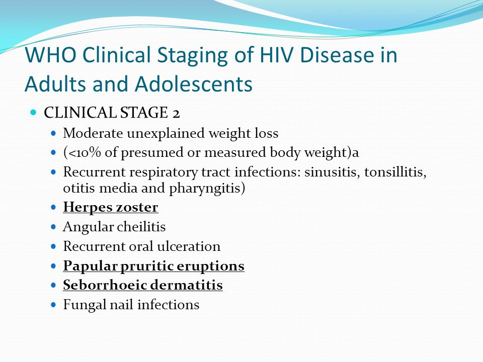WHO Clinical Staging of HIV Disease in Adults and Adolescents