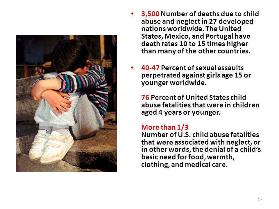 3,500 Number of deaths due to child abuse and neglect in 27 developed nations worldwide. The United States, Mexico, and Portugal have death rates 10 to 15 times higher than many of the other countries.
