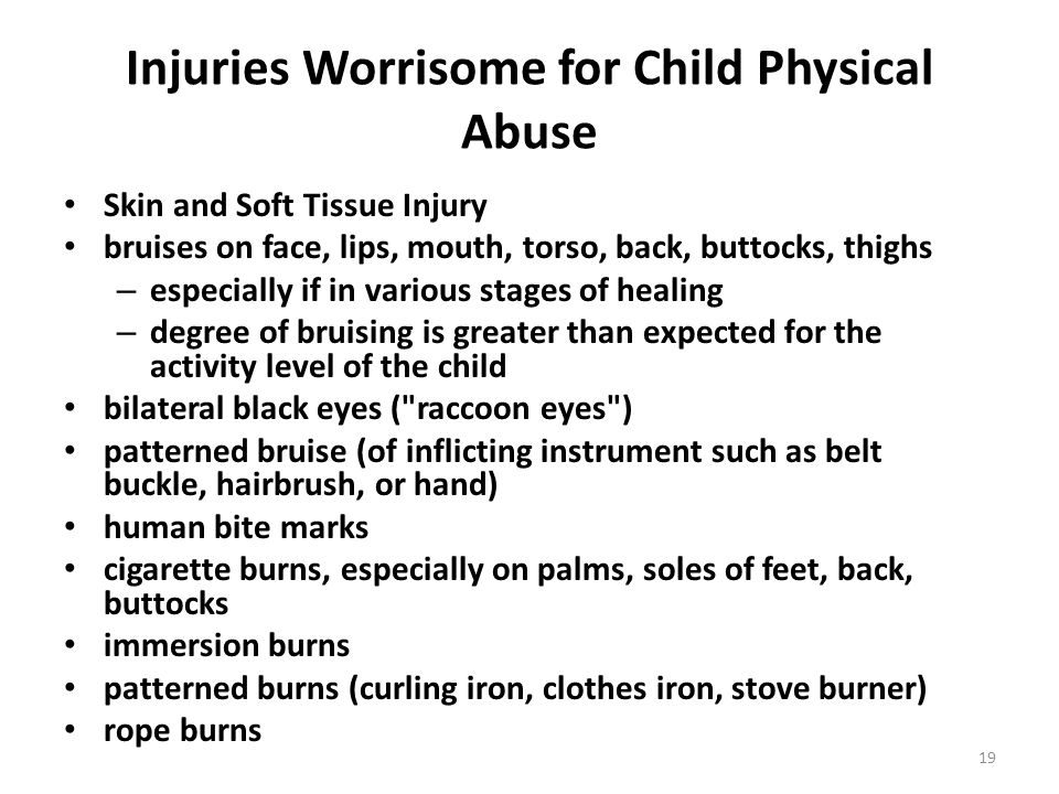 Injuries Worrisome for Child Physical Abuse